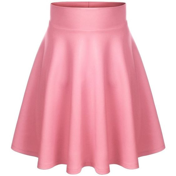 BIADANI Women Versatile Flared Stretch Wide Band Skater Skirts (S-3X) ($9.99) ❤ liked on Polyvore featuring skirts, circle skirt, flare skirt, pink skater skirt, pink flare skirt and skater skirts
