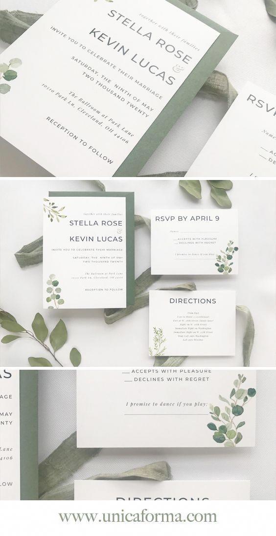 Green And White Wedding Colors Modern Wedding Sign Minimalist Weddi Cheap Wedding Invitations Minimalist Wedding Invitations Simple Wedding Invitations Cheap