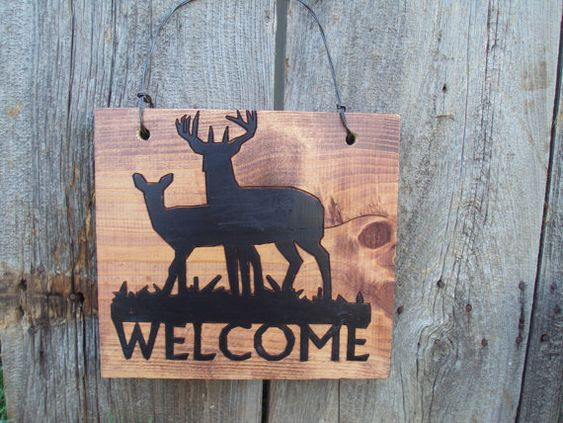 Welcome Sign. Buck and Doe silhouette.Rustic wall decor. Rustic outdoor decor. Entry way decor.