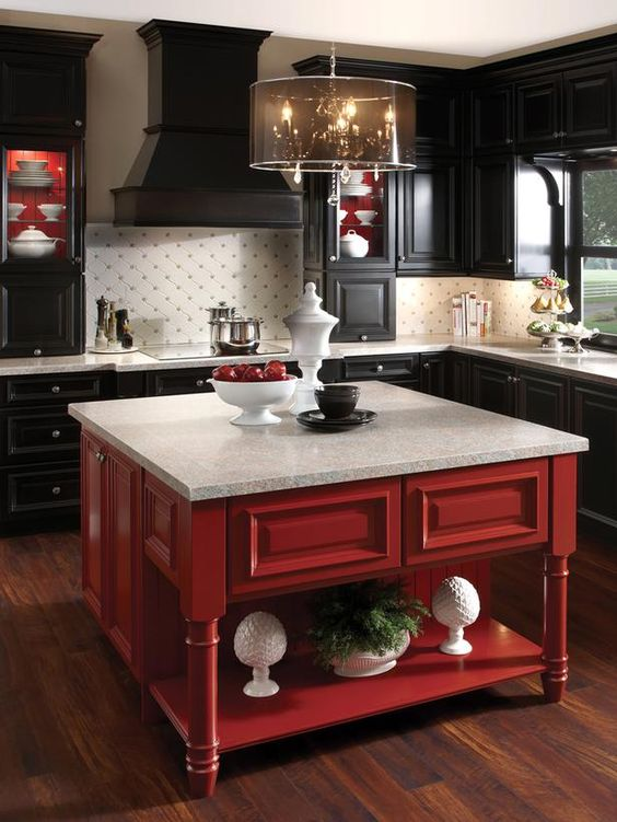 Black and White Kitchen With a Pop of Red: White Kitchen, Black And Red Kitchen, Red And Black Kitchen