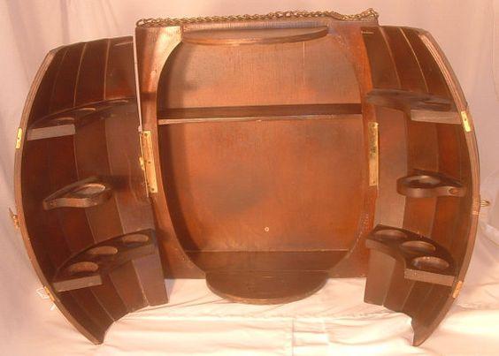 Vintage wood wine barrel wall mount hanging mini bar for Mini bar wall cabinet