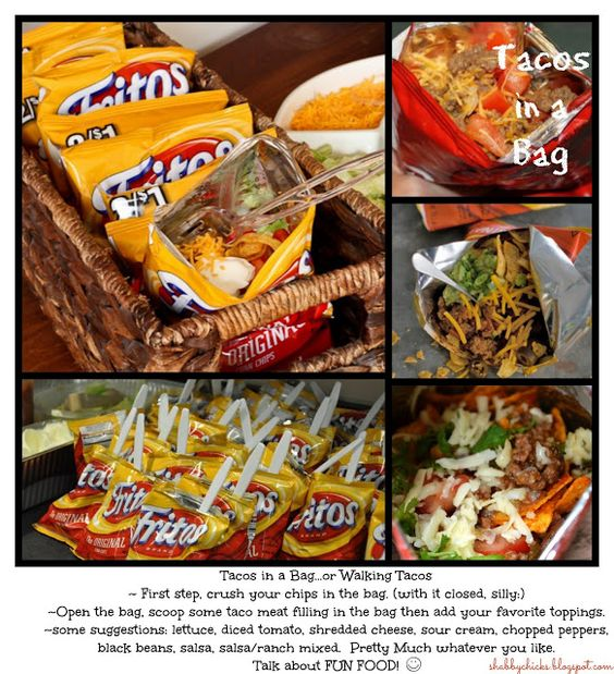 Tacos in a Bag.  or Walking Tacos  Really simple and very good! have since learned that they are even better with Nacho Cheese Doritos or  Chili Cheese Fritos.  And on a plate with chili. . . .you'll have frito pie:)