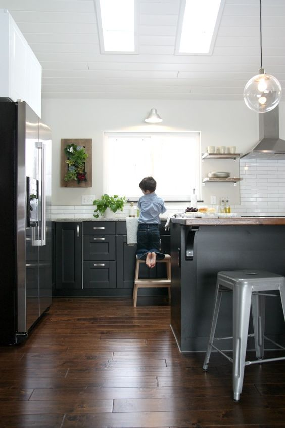fabulous black kitchen cabinets floor | Wall planters, Black cabinets and Kitchens on Pinterest