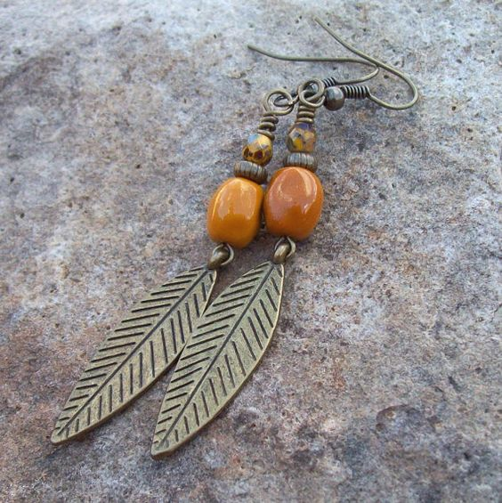 Falling Feather - Beaded Sunflower Yellow Dangle Earrings by Angelof2, $18.50