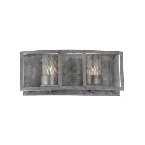 Varaluz Jackson 2-Light Antique Silver Vanity Light with Arched Windowpane Glass