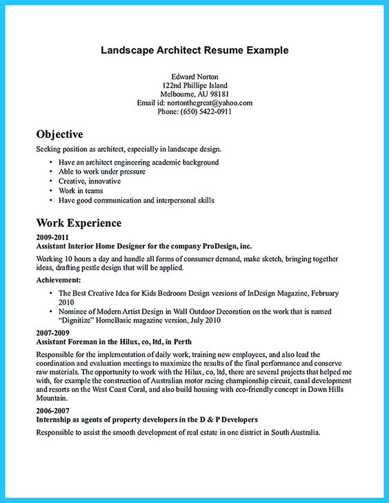 Architect Resume Samples All Document Resume Pinterest  Landscape Architect Resume