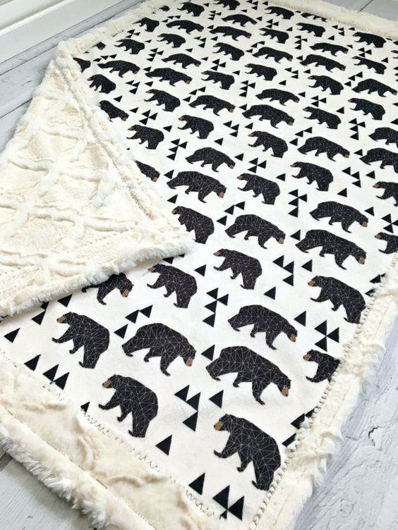 Minky Bear Baby Blanket  Geometric Designer by TheDesignerMinkyCo