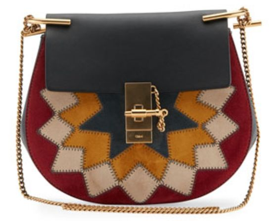 Chloe Starburst Motif Small Shoulder Bag in Multi-Color Suede