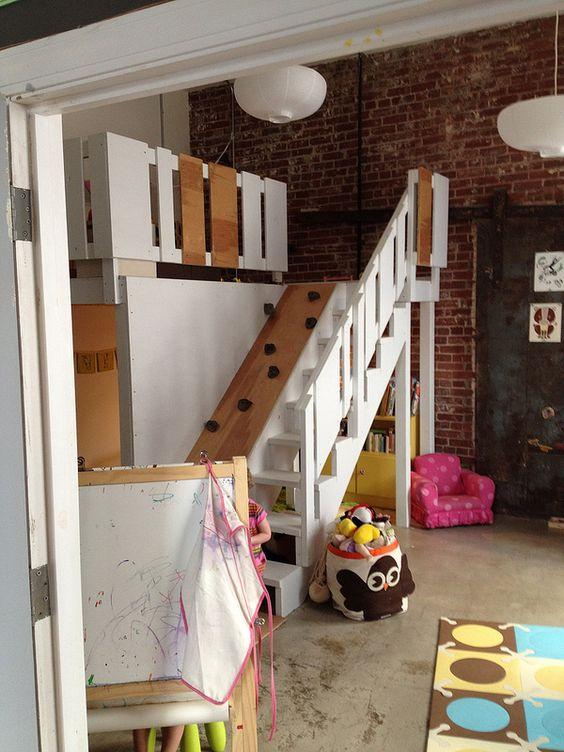 hochbett-treppe mit kletterwand | ideen fürs kinderzimmer