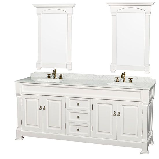 Wyndham Andover (double) 80-Inch White Transitional Bathroom Vanity Set with Top Option