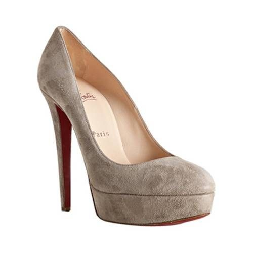 #Christian Louboutin Bianca 140mm Platform Suede Pumps Gray