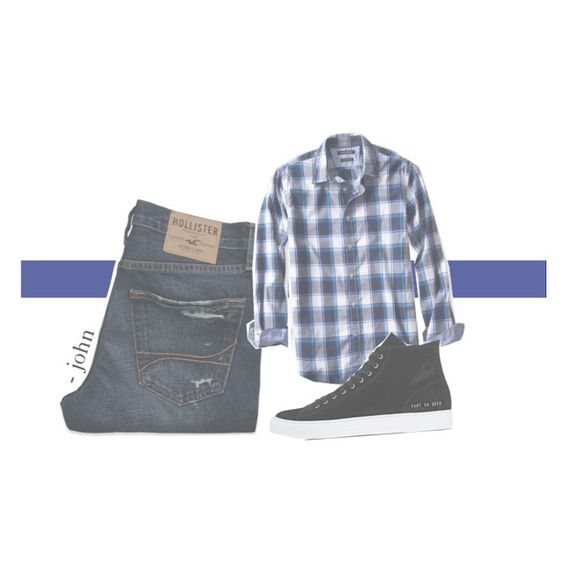 """""""~ john's ootd, one ~"""" by indiebree ❤ liked on Polyvore featuring Hollister Co., Banana Republic, Common Projects, men's fashion and menswear"""