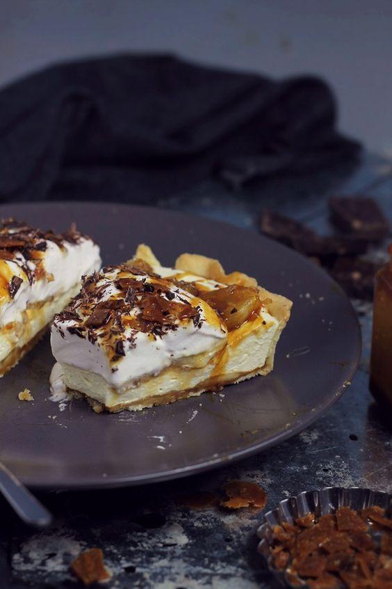 Banana, caramel and vanilla mousse tart