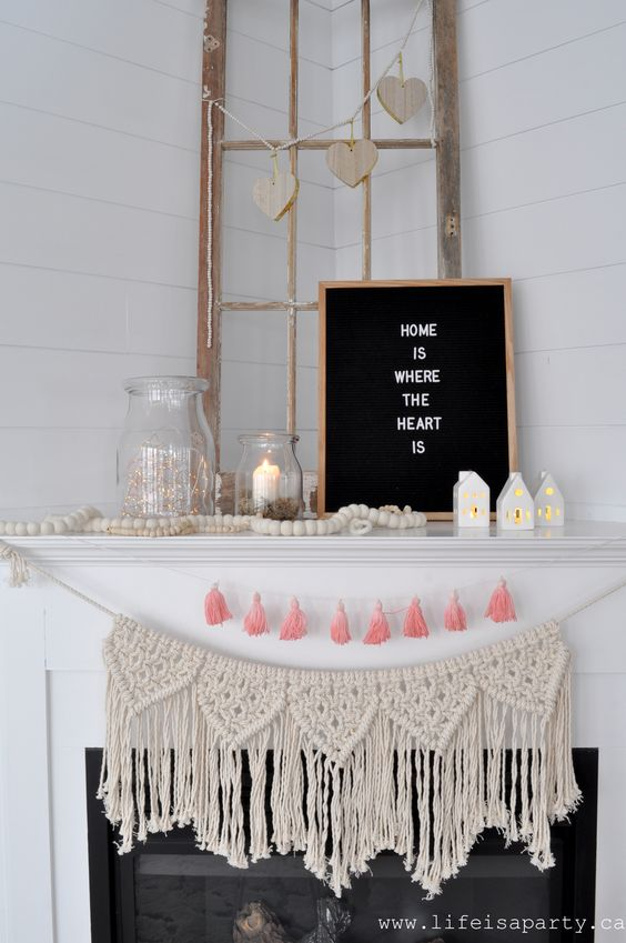 Valentine's Day Decor -a home tour with simple, neutral, and soft pink decorations for a pretty Valentine's Day Farmhouse inspired feel.