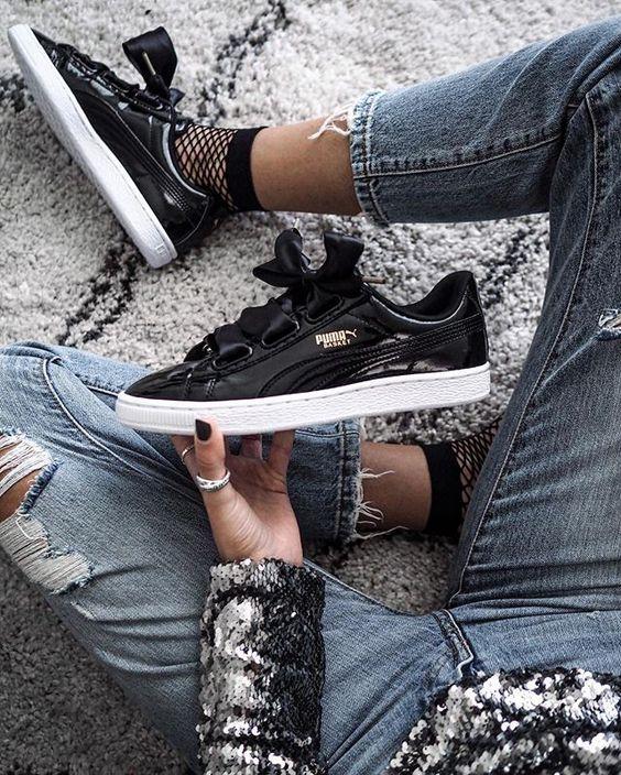 zapatillas puma basket negras mujer