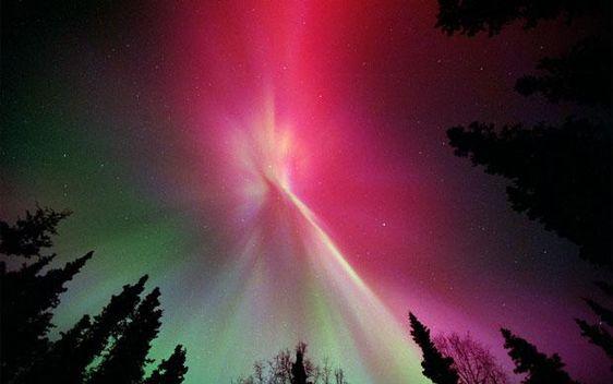The aurora borealis glows directly overhead in the sky above Kenai, Alaska.
