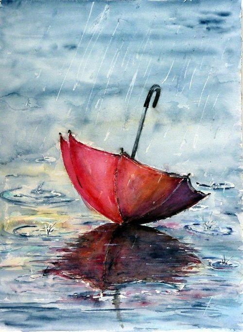 Peinture art pinterest te amo la peinture de pluie for Painting red umbrella
