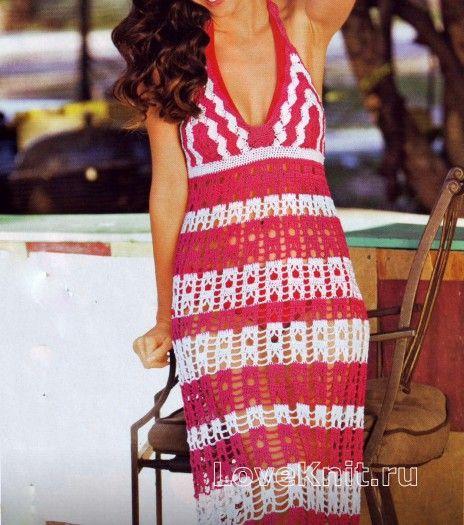 Полосатое платье с завязками на шее раздел крючком вязаные крючком платья, сарафаны