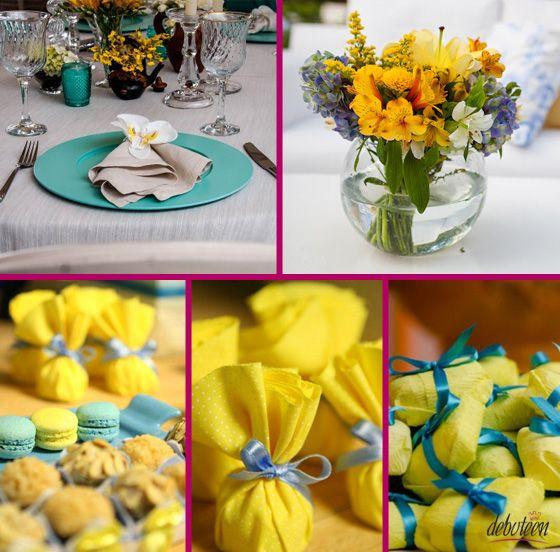 azul tiffany & amarelo
