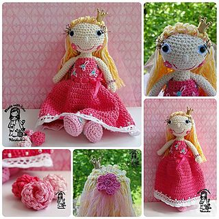 Crochet doll - princess by Vendula Maderska - This pattern is available for download for $5.70.Little princess for the princess :-) This pattern includes:  Step by step instruction, Very detailed photo- tutorial, Instruction are written in English language, American terminology