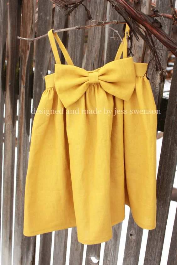 linen bow Dress in mustard- love it