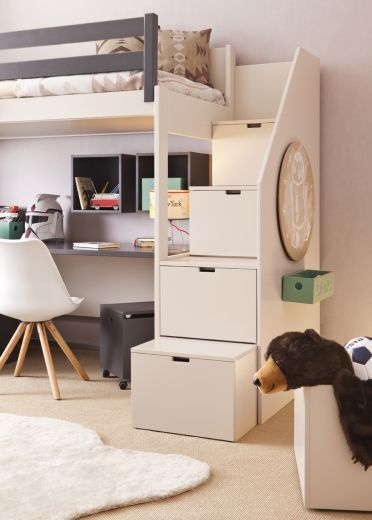 Loft Bed 191cm With Side Steps By Asoral Bunk Bed Designs Small Room Bedroom Loft Bed Plans