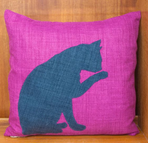 "Handmade Cushion Cover 16"" x 16"" Applique Cat Pink, Slub Linen Style Artisan"