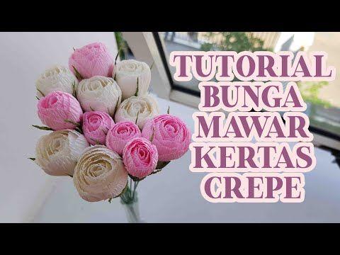 Tutorial Membuat Bunga Mawar Dari Kertas Crepe How To Make Rose Bud With Crepe Paper Youtube Di 2021 Mawar Kertas Mawar Kertas
