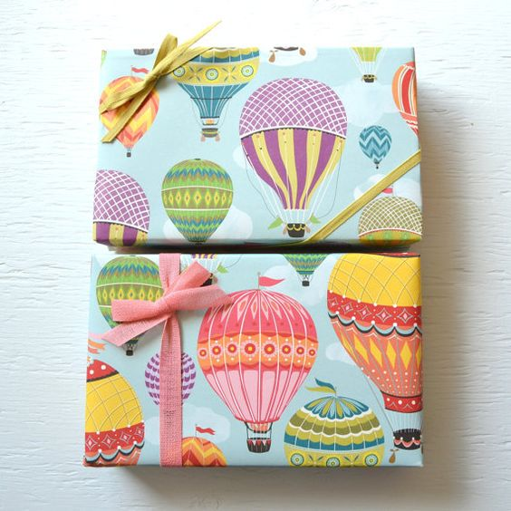 2 sheets HOT AIR BALLOONS fine paper wrapping by PaperAndPresent .  This shop has SO MANY gorgeous wrapping papers!