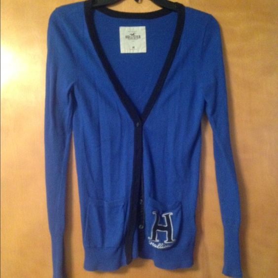 Blue cardigan Worn many times! Still has a lot of wear in it Hollister Jackets & Coats
