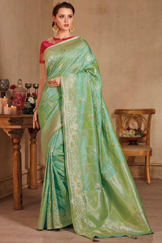 saris sari Green Pure soft two tone Silk Saree and blouse for women,saree dress,Saree for women,Indian saree,wedding saree,designer saree