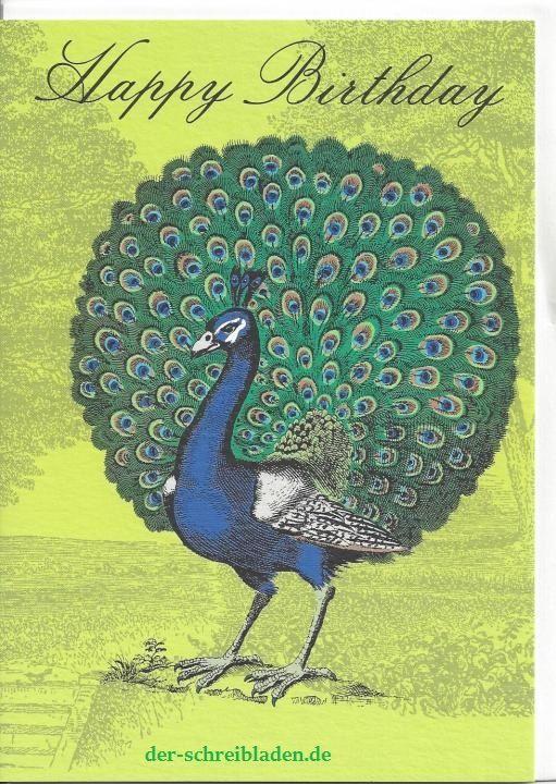 Wusstet ihr, dass der Pfau ursprünglich aus Indien stammt? Dieses wunderschöne Exemplar überbringt Geburtstagsgrüße. Did you know that the peacock originally comes from India?  http://bit.ly/1FwvIpF  #Doppelkarte von #RogerLaBorde #Nürnberg #Schreibwaren #Papeterie