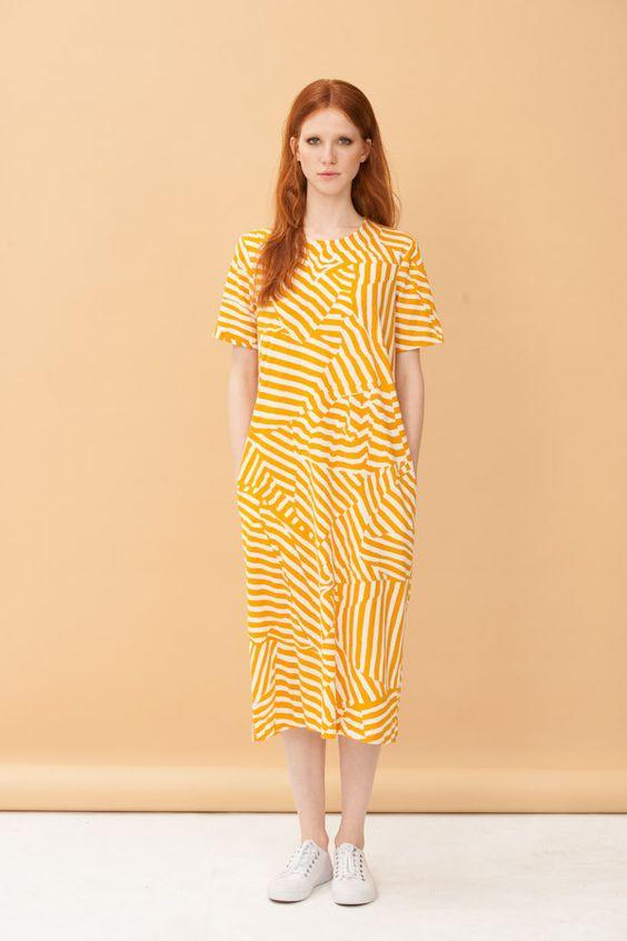 Parlour Dress -Crumpled Stripe Print (Mustard/White) AVAILABLE NOW   Milk & Thistle