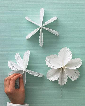 Doily Star Tree-Topper. Beautiful and simple way to turn doilies into something special. From MarthaStewart.com