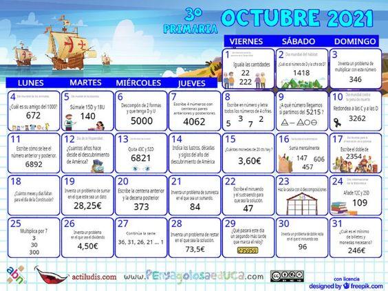 Calendario Tercero ABN – Octubre 2021