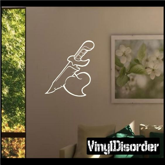 Heart Knife Dagger Wall Decal - Vinyl Decal - Car Decal - CF183