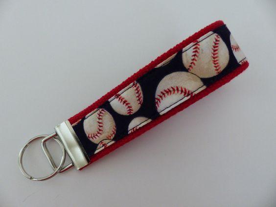 Baseball KeyFob, Key Chain, Key Holder, KeyFob Wristlet Keychain by WoobieDesigns on Etsy https://www.etsy.com/listing/244210728/baseball-keyfob-key-chain-key-holder