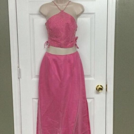 "Formal Dance PROM 2pc Pink Halter Crop Top Skirt 2Pc Prom Formal Dance Wear. Halter Crop Top. Long Skirt. Check your measurements. smaller size due to having it custom altered. Light pink color with gold accent design on top piece. Approx. measurements: across the bust lying flat is 16""; waist of skirt lying flat is 13.5""; length of skirt is 41.5"".  #PROM #FormalWear #INSTASALE #INSTASHOP #SHOPMYCLOSET #CropTop #PromDress Dave & Johnny Skirts"