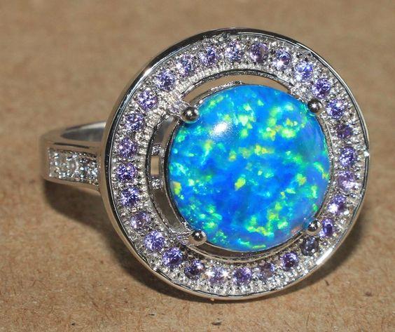 fire opal zircon ring gemstone silver jewelry Sz 9 modern engagement band M1AA