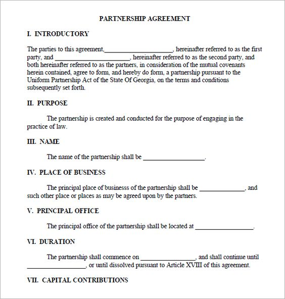 Partnership Agreement Template Real Estate Forms Legal Forms - partnership agreement form