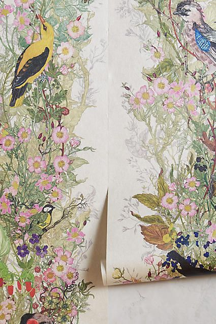 Bird sanctuary wallpaper products home and anthropologie for Anthropologie wallpaper mural