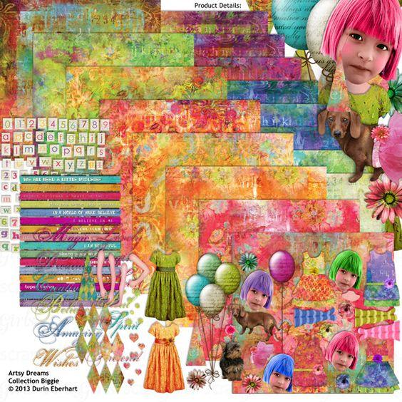 Artsy Dreams Collection Biggie, designed by Durin Eberhart, Scrap Girls, LLC digital scrapbooking product designer