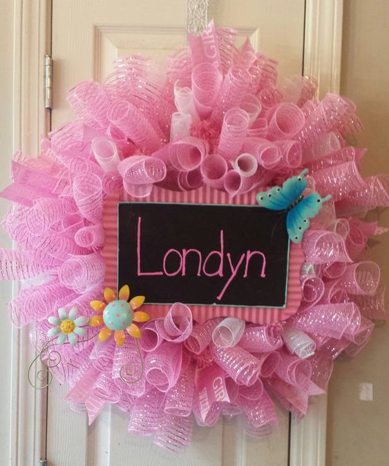 Baby shower/It's a girl wreath.  pink and by CustomWreathDesign