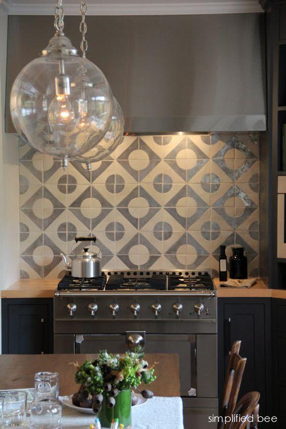 Designer Navy Grey Kitchen With Geometric Terra Cota Tile Backsplash Design By Jute Interior