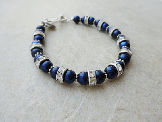 Dark Blue Pearl and Crystal Bracelet by MadeInTheFalls on Etsy