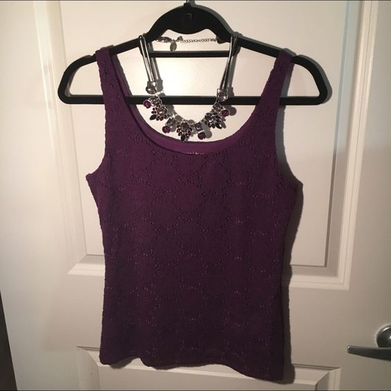 Lace Purple White House Black Market Tank Top Barely used and absolutely adorable tank top from White House Black Market. Lace all around and fitting style. Needs a new home (: Necklace not included. White House Black Market Tops Tank Tops