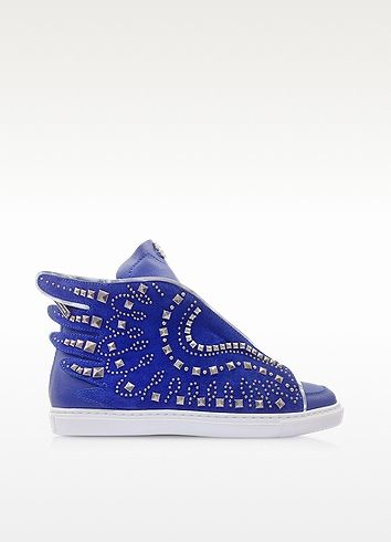 Electric Blue Leather Sneaker - Roberto Cavalli