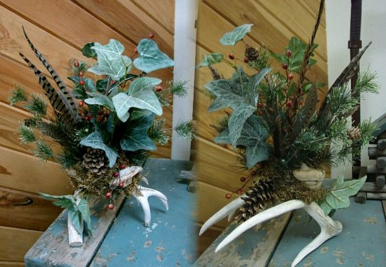 Wildlife Deer Wreath Ideas | Northwoods Memories Deer Antler Pheasant Feather Ivy Centerpiece ...