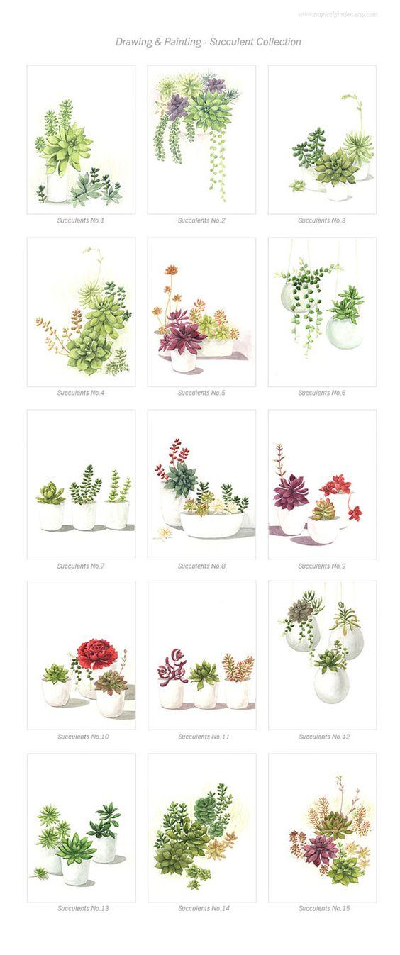 Succulent Watercolor Print Set Any Two Succulent Art