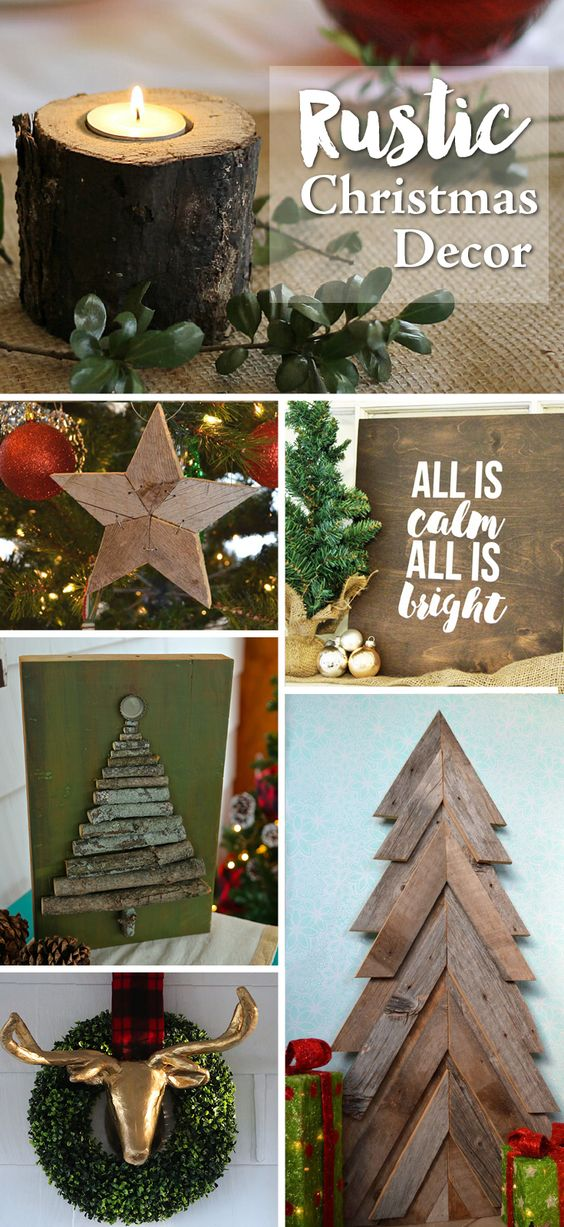 DIY Rustic Christmas Decor Ideas to deck out your house this holiday season. get inspired by wood, burlap, twine, pine cones and birds.: